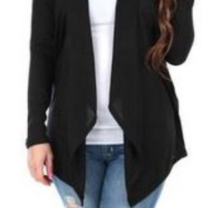 Rag & Couture Women's Hacci Draped Cardigan